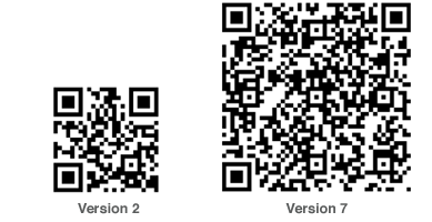 Qr Codes version 2 and version 7