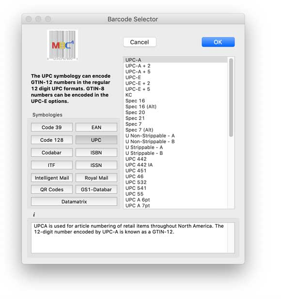The Barcode Selector Window