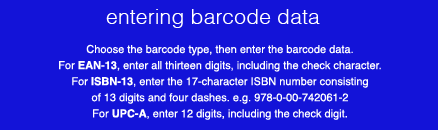 entering barcode data for labels
